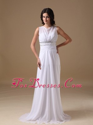 Elegant Beading Wedding Dress Column Scoop Brush Train Chiffon