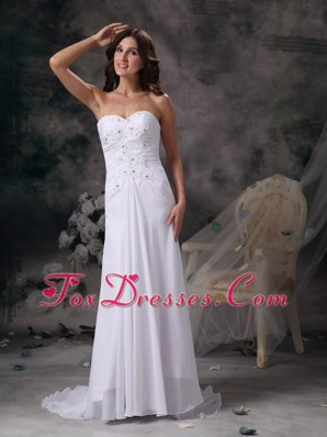 Romantic Column Sweetheart Brush Train Wedding Dress Beading