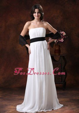 Black And White Belt Wedding Bride Dresses Chiffon Ruched