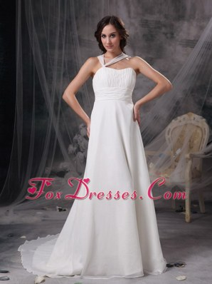 Asymmetrical Ruched Wedding Gowns A-line Court Train