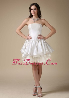 Strapless Short Layered Taffeta Beach Wedding Dresses