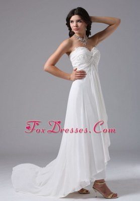 Custom Made High-low Wedding Dress With Lace