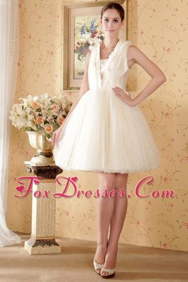 Princess Square Knee-length Wedding Dress Beading Ruch