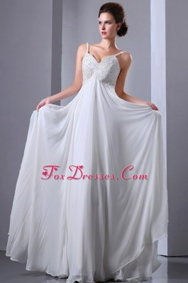 Spaghetti Straps Appliques Beading Prom Dress