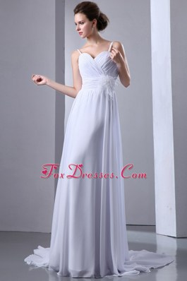 Spaghetti Straps Court Ruch Wedding Dress