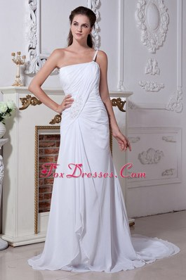 One Shoulder Court Beading Ruch Wedding Dress