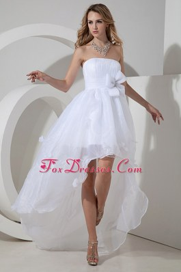 Strapless High-low Wedding Dress Organza Bow