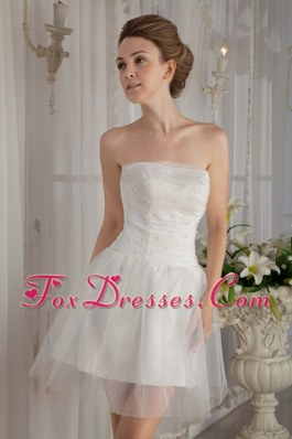 Strapless Mini-length Wedding Dress Organza Beading