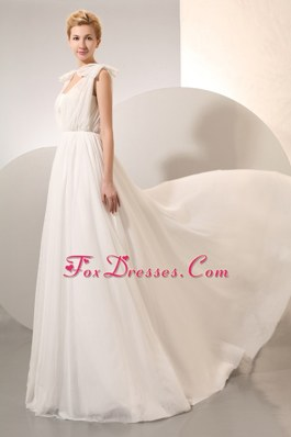 Straps Court Train Wedding Dress Chiffon Ruch