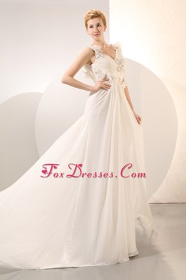 Empire V-neck Court Chiffon Beading Wedding Dress
