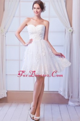 Appliques Organza Beach Wedding Dress Sweetheart Mini-length