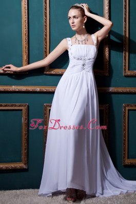 Straps Brush Train Chiffon Beading Ruch Wedding Bridal Dress