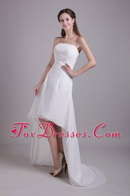 Beading High-low Ruched Wedding Dress Bridal Gowns Strapless