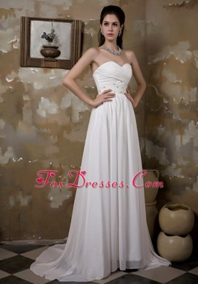 Pretty Empire Brush Train Chiffon Beading Ruch Wedding Dress