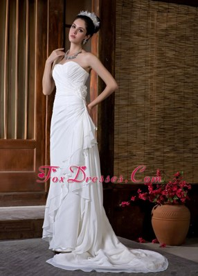 New Simple Court Train Chiffon Ruch Wedding Dress Gowns