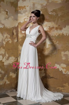 Column V-neck Wedding Dress Brush Train Organza Beading