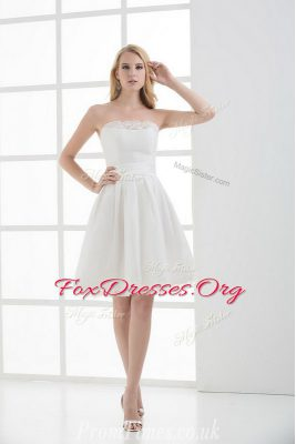 White Strapless Lace Up Lace Bridal Gown Sleeveless