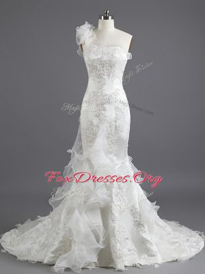 Mermaid With Train White Wedding Dress Strapless Sleeveless Chapel Train Lace Up