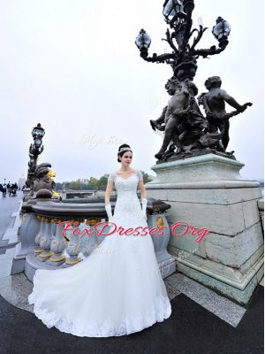 Short Sleeves Organza With Train Sweep Train Lace Up Wedding Gowns in White with Beading and Lace and Appliques