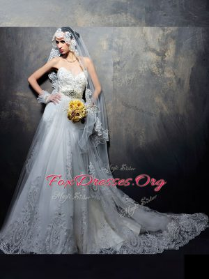 White Sleeveless Court Train Beading and Appliques With Train Wedding Dress