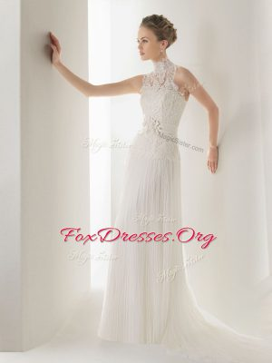 Suitable White Clasp Handle Halter Top Lace and Belt Wedding Dress Chiffon Sleeveless Brush Train