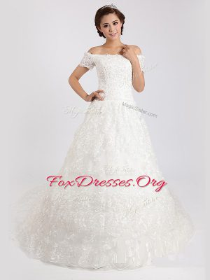 White Off The Shoulder Lace Up Lace Bridal Gown Court Train Short Sleeves