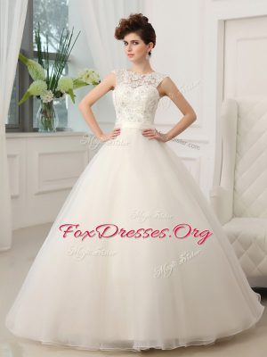 Stylish White Bridal Gown Wedding Party and For with Beading and Appliques Scoop Sleeveless Zipper