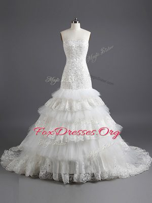 Inexpensive Mermaid White Lace Up Wedding Dress Ruffled Layers Sleeveless With Train Court Train