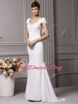 Attractive With Train Mermaid Cap Sleeves White Wedding Gowns Brush Train Side Zipper