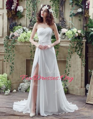 Romantic White Sleeveless Beading and Ruching Lace Up Wedding Gown