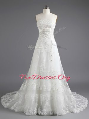 Glittering White Lace Up Wedding Dress Beading and Lace Sleeveless With Train Court Train