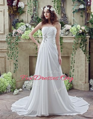 Sophisticated White Chiffon Lace Up Strapless Sleeveless Wedding Dress Brush Train Beading and Appliques and Ruching