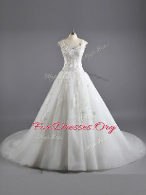 White Cap Sleeves Floor Length Lace and Appliques Lace Up Wedding Gowns