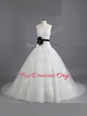 Pretty With Train White Wedding Gown Sweetheart Sleeveless Court Train Lace Up
