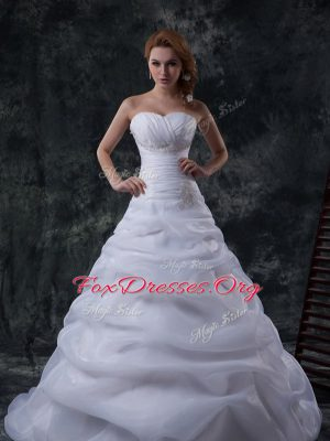 Sweet Floor Length White Wedding Gown Organza Brush Train Sleeveless Beading and Ruching and Pick Ups
