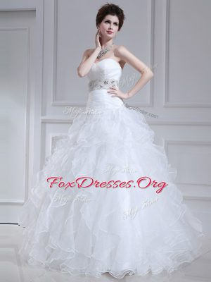 Spectacular Sweetheart Sleeveless Lace Up Wedding Dress White Organza