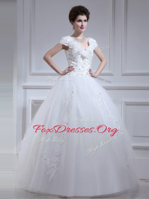 White V-neck Neckline Beading and Appliques and Sashes ribbons and Bowknot Wedding Dress Sleeveless Lace Up