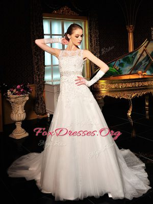 Exquisite Scalloped White Wedding Gown Tulle and Lace Court Train Sleeveless Lace