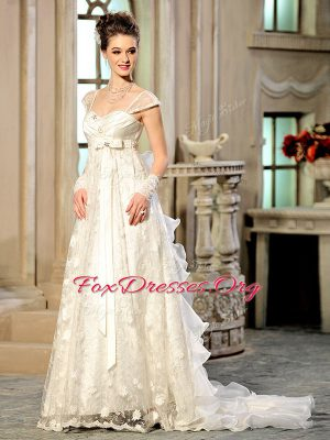 Brush Train Empire Bridal Gown White Sweetheart Organza Cap Sleeves With Train Lace Up
