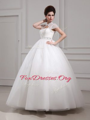 Wonderful Halter Top Cap Sleeves Floor Length Beading and Lace Lace Up Wedding Gowns with White