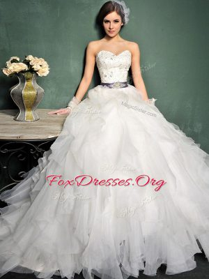 Designer Ball Gowns Sleeveless White Wedding Dress Brush Train Lace Up