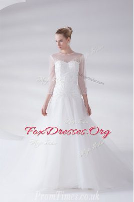 Smart Scoop White Tulle Zipper Wedding Dresses 3 4 Length Sleeve With Brush Train Appliques