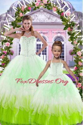 Elegant Beading 15th Birthday Dress Multi-color Lace Up Sleeveless Floor Length