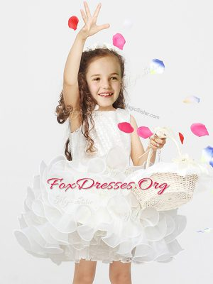 Scoop Sleeveless Zipper Mini Length Lace and Ruffles Flower Girl Dresses