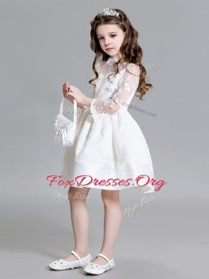 Pretty Mini Length White Flower Girl Dresses Lace Long Sleeves Lace