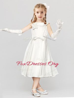Scoop Clasp Handle Tea Length White Toddler Flower Girl Dress Satin Sleeveless Bowknot and Hand Made Flower