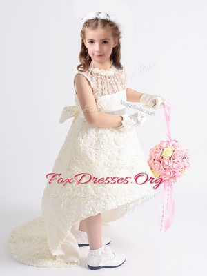 Scoop Fabric With Rolling Flowers Sleeveless High Low Toddler Flower Girl Dress and Beading and Bowknot