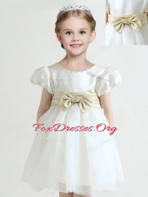 Scoop Short Sleeves Flower Girl Dresses Knee Length Bowknot White Organza