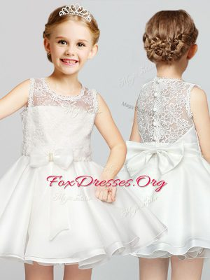 Scoop Mini Length A-line Sleeveless White Flower Girl Dresses for Less Clasp Handle