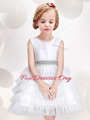 Scoop Tulle Sleeveless Mini Length Flower Girl Dress and Ruffled Layers and Sequins and Bowknot